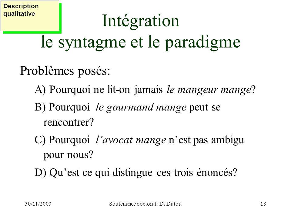 30/11/2000Soutenance doctorat : D. Dutoit13 Intégration le syntagme et le paradigme Problèmes posés: A) Pourquoi ne lit-on jamais le mangeur mange? B)