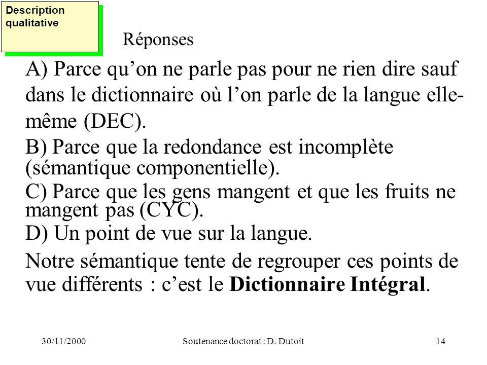 30/11/2000Soutenance doctorat : D. Dutoit14 Réponses A) Parce quon ne parle pas pour ne rien dire sauf dans le dictionnaire où lon parle de la langue