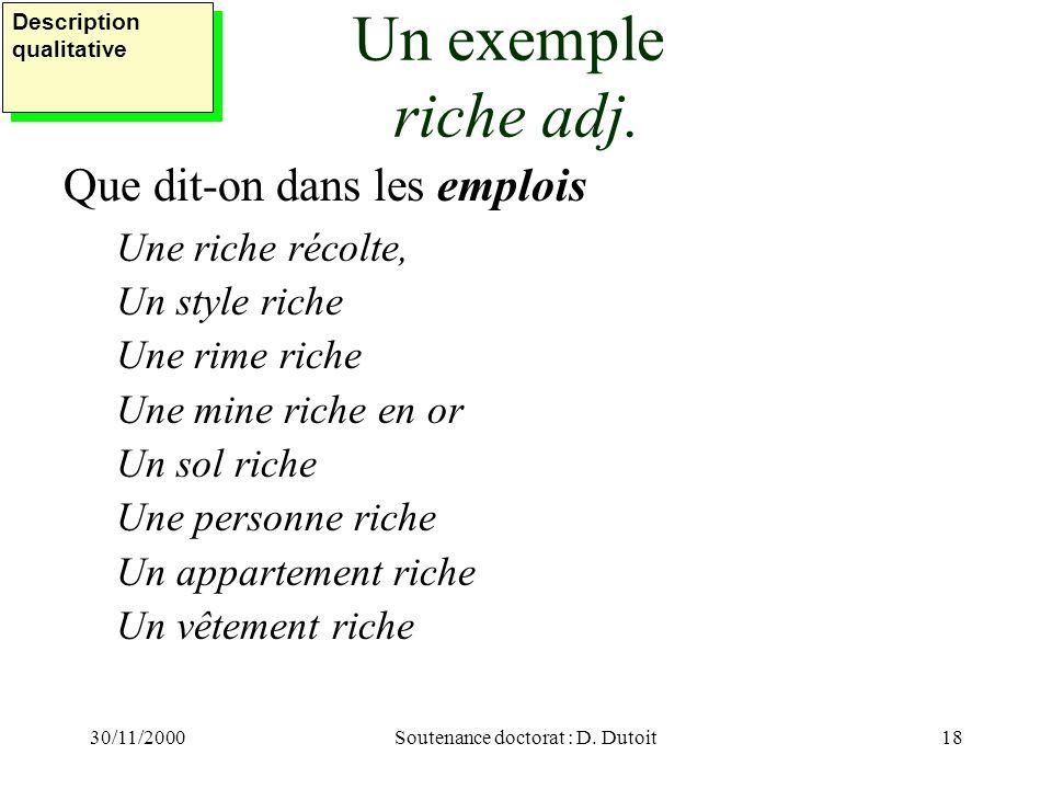 30/11/2000Soutenance doctorat : D. Dutoit18 Un exemple riche adj. Que dit-on dans les emplois Une riche récolte, Un style riche Une rime riche Une min