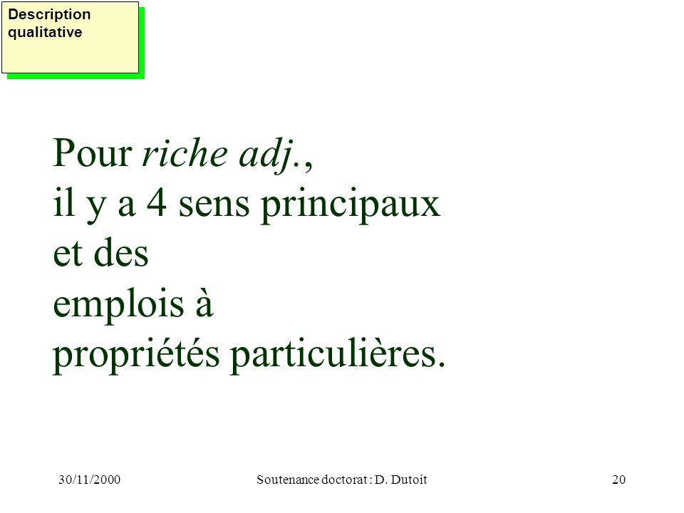 30/11/2000Soutenance doctorat : D. Dutoit20 Pour riche adj., il y a 4 sens principaux et des emplois à propriétés particulières. Description qualitati