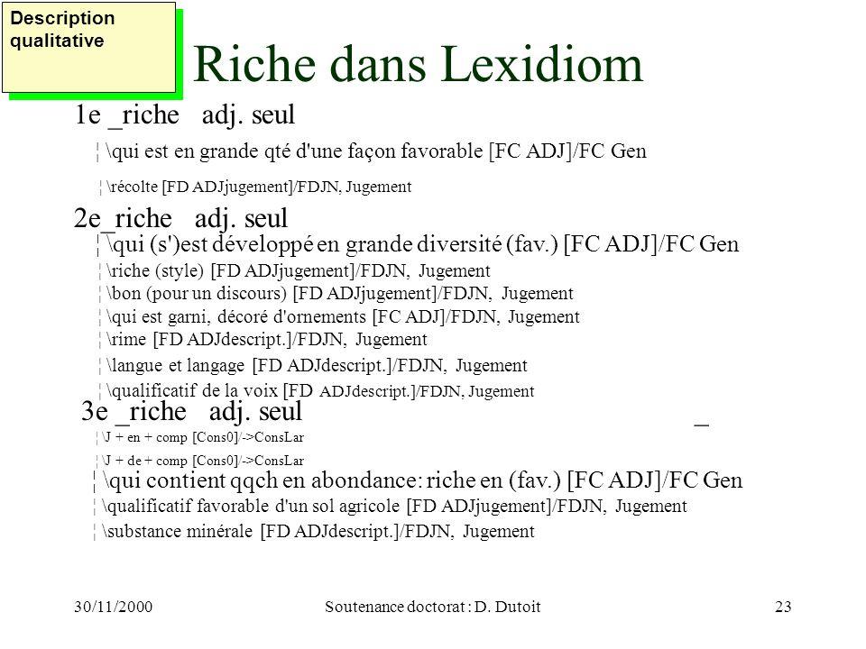 30/11/2000Soutenance doctorat : D. Dutoit23 Riche dans Lexidiom 1e _riche adj. seul ¦ \qui est en grande qté d'une façon favorable [FC ADJ]/FC Gen ¦ \