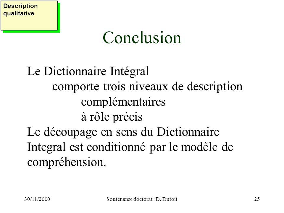 30/11/2000Soutenance doctorat : D. Dutoit25 Conclusion Le Dictionnaire Intégral comporte trois niveaux de description complémentaires à rôle précis Le