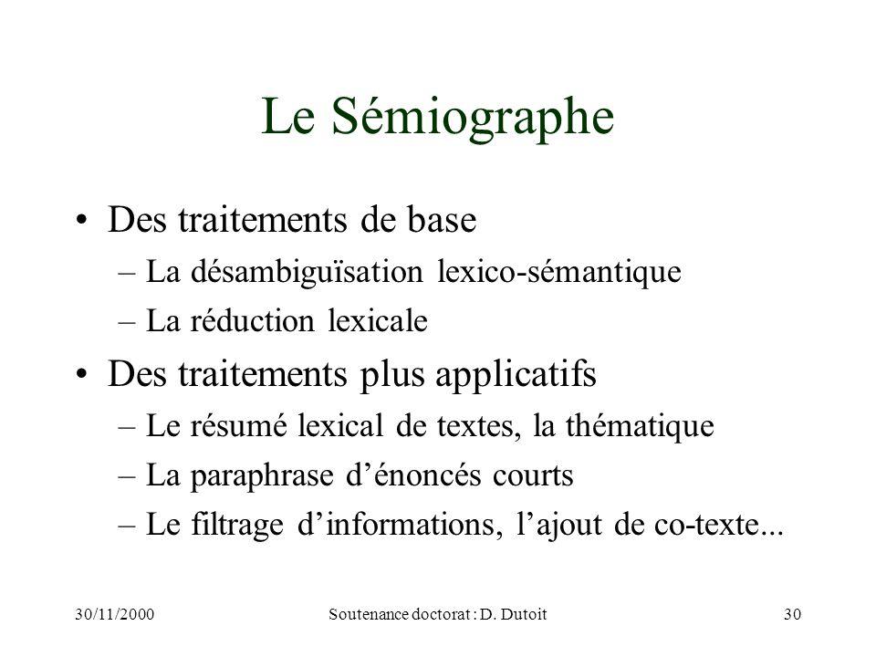 30/11/2000Soutenance doctorat : D. Dutoit30 Le Sémiographe Des traitements de base –La désambiguïsation lexico-sémantique –La réduction lexicale Des t