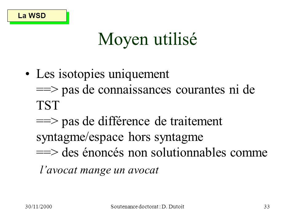 30/11/2000Soutenance doctorat : D. Dutoit33 Moyen utilisé Les isotopies uniquement ==> pas de connaissances courantes ni de TST ==> pas de différence