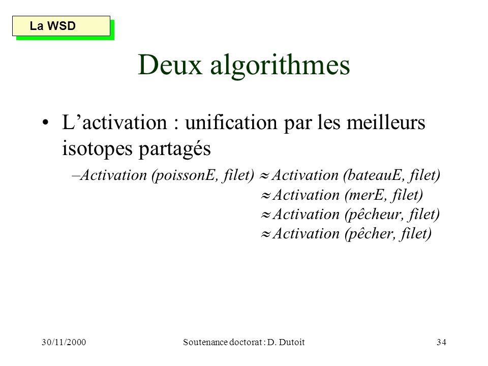 30/11/2000Soutenance doctorat : D. Dutoit34 Deux algorithmes Lactivation : unification par les meilleurs isotopes partagés –Activation (poissonE, file