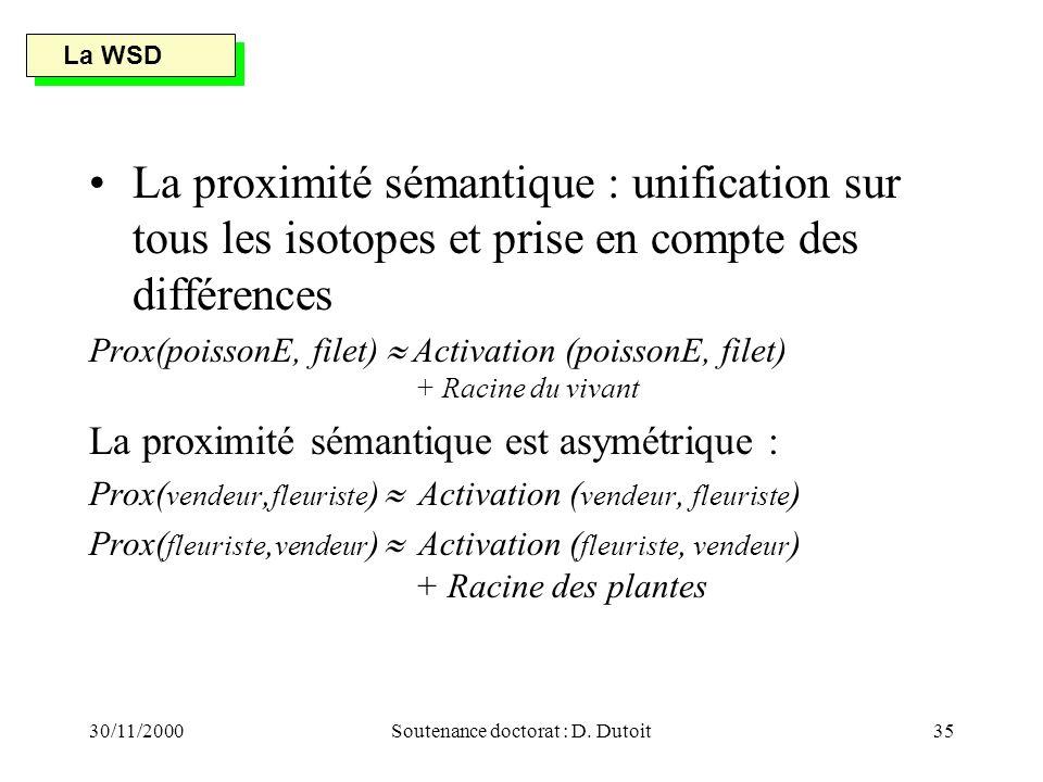 30/11/2000Soutenance doctorat : D. Dutoit35 La proximité sémantique : unification sur tous les isotopes et prise en compte des différences Prox(poisso