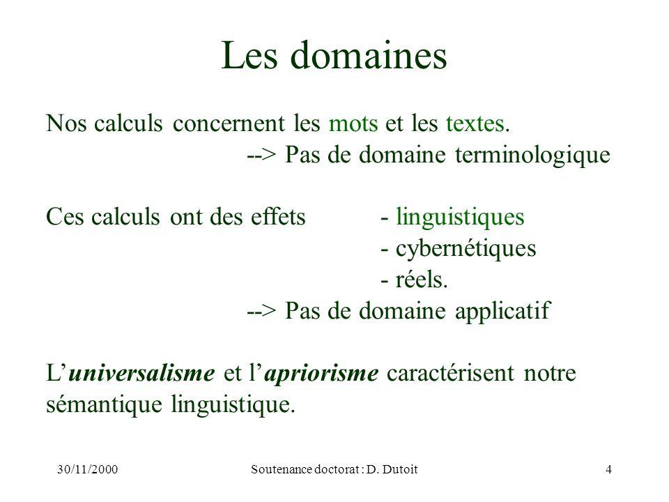 30/11/2000Soutenance doctorat : D. Dutoit4 Nos calculs concernent les mots et les textes. --> Pas de domaine terminologique Ces calculs ont des effets