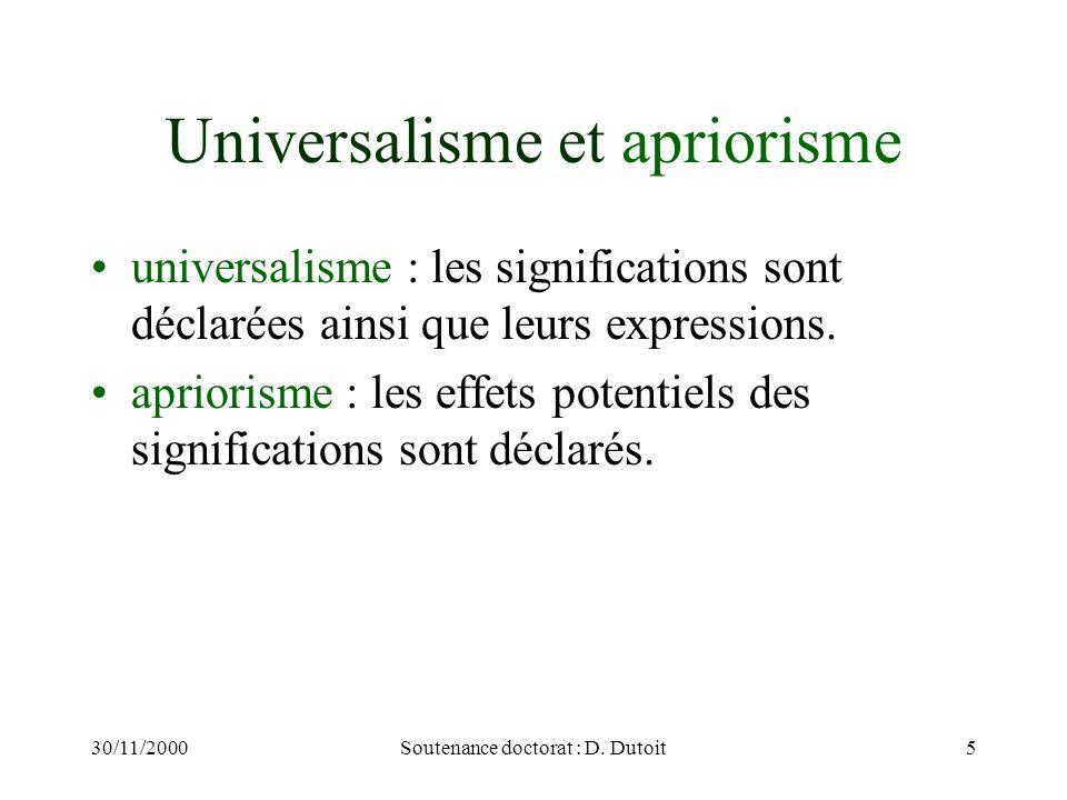 30/11/2000Soutenance doctorat : D. Dutoit5 Universalisme et apriorisme universalisme : les significations sont déclarées ainsi que leurs expressions.