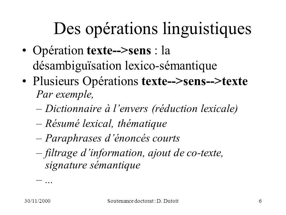 30/11/2000Soutenance doctorat : D. Dutoit6 Des opérations linguistiques Opération texte-->sens : la désambiguïsation lexico-sémantique Plusieurs Opéra