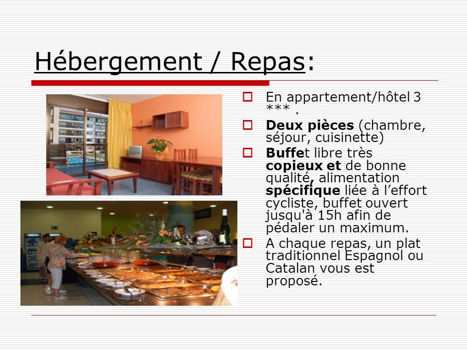 Hébergement / Repas: En appartement/hôtel 3 ***. Deux pièces (chambre, séjour, cuisinette) Buffet libre très copieux et de bonne qualité, alimentation