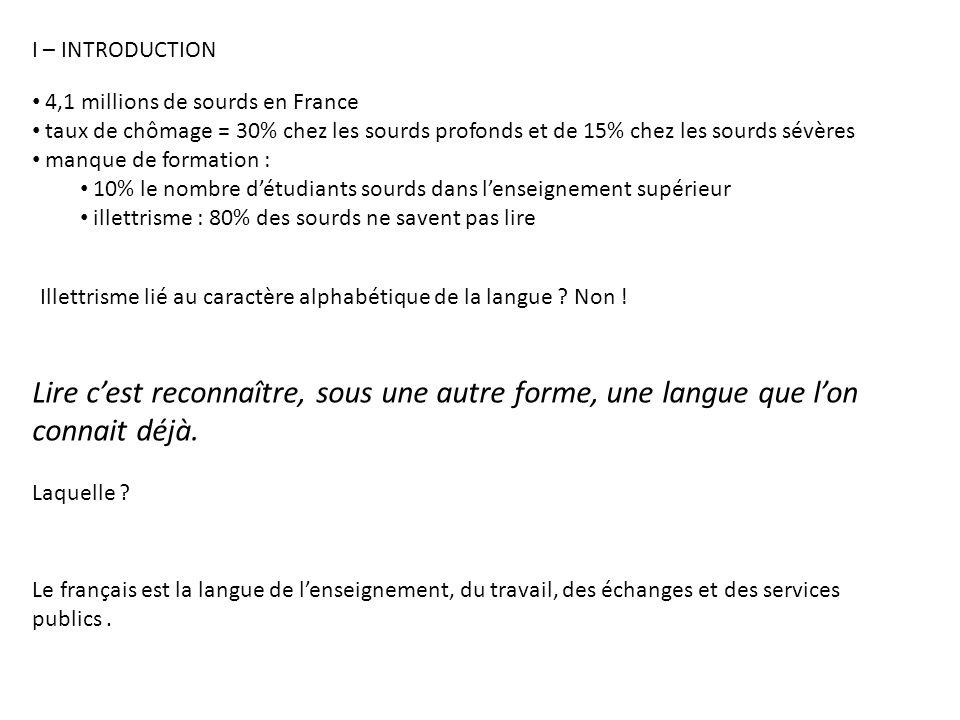 4,1 millions de sourds en France taux de chômage = 30% chez les sourds profonds et de 15% chez les sourds sévères manque de formation : 10% le nombre détudiants sourds dans lenseignement supérieur illettrisme : 80% des sourds ne savent pas lire Illettrisme lié au caractère alphabétique de la langue .