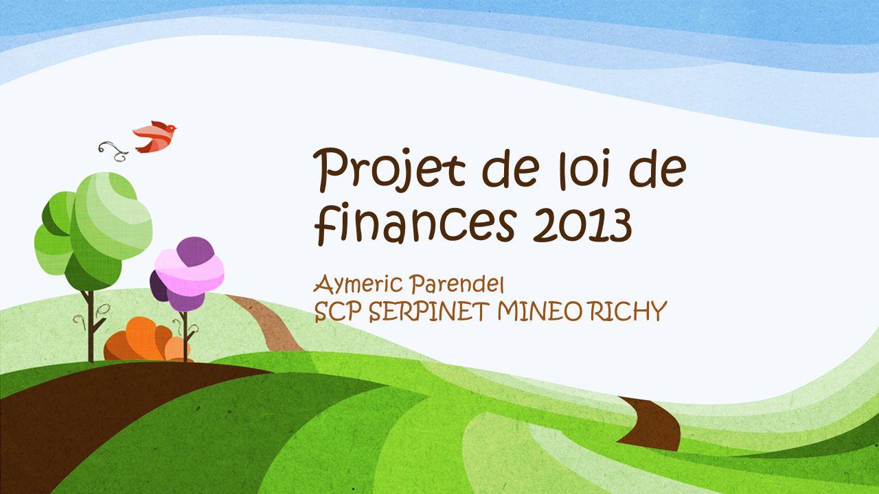 Projet de loi de finances 2013 Aymeric Parendel SCP SERPINET MINEO RICHY