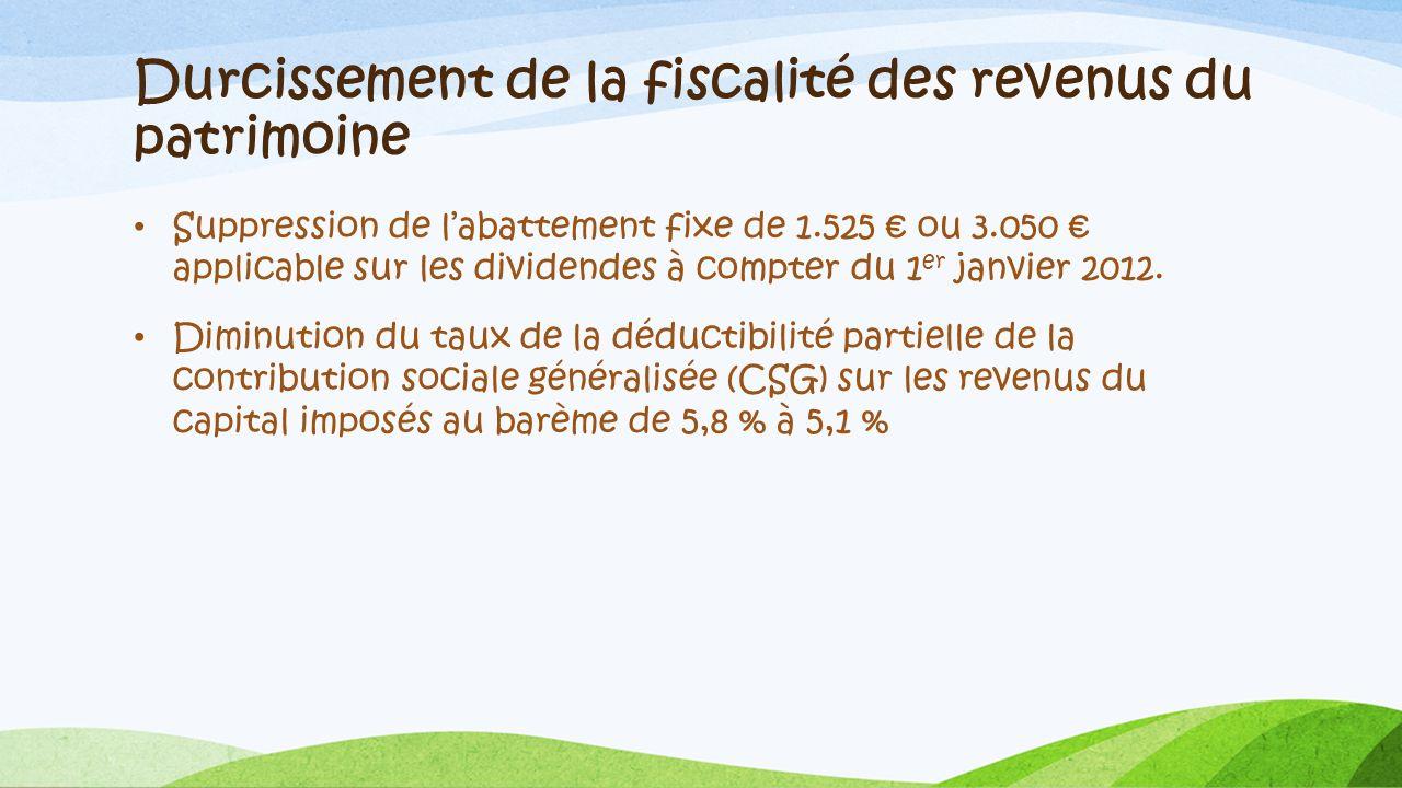 Durcissement de la fiscalité des revenus du patrimoine Suppression de labattement fixe de 1.525 ou 3.050 applicable sur les dividendes à compter du 1