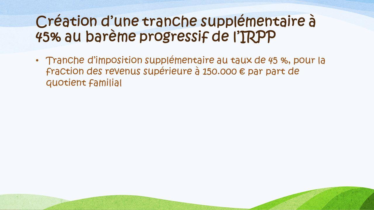 Création dune tranche supplémentaire à 45% au barème progressif de lIRPP Tranche dimposition supplémentaire au taux de 45 %, pour la fraction des reve