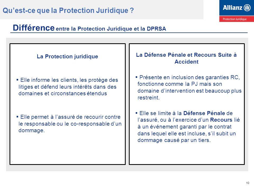 Différence entre la Protection Juridique et la DPRSA La Défense Pénale et Recours Suite à Accident Présente en inclusion des garanties RC, fonctionne comme la PJ mais son domaine dintervention est beaucoup plus restreint.