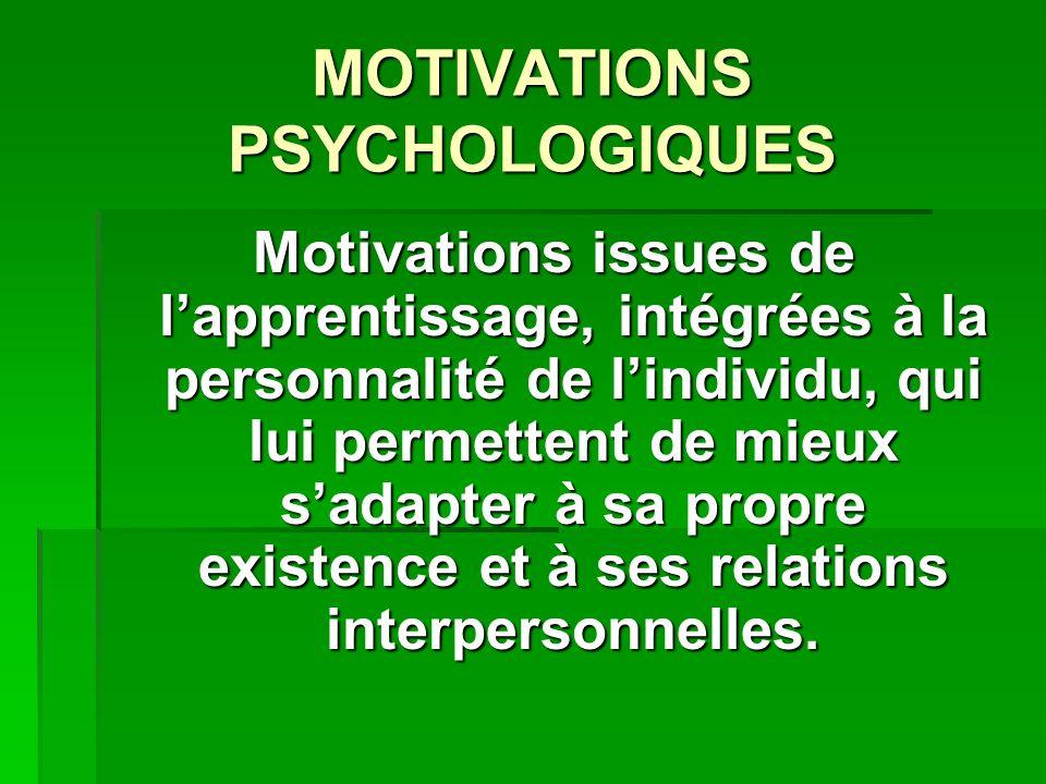 MOTIVATIONS PSYCHOLOGIQUES Motivations issues de lapprentissage, intégrées à la personnalité de lindividu, qui lui permettent de mieux sadapter à sa propre existence et à ses relations interpersonnelles.