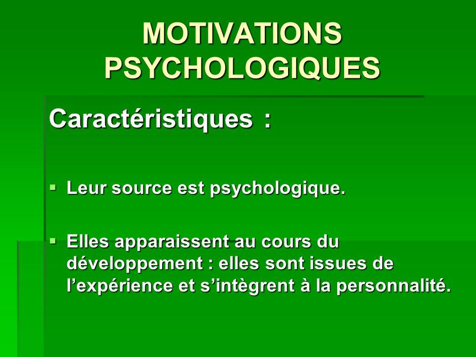 MOTIVATIONS PSYCHOLOGIQUES Caractéristiques : Leur source est psychologique. Leur source est psychologique. Elles apparaissent au cours du développeme