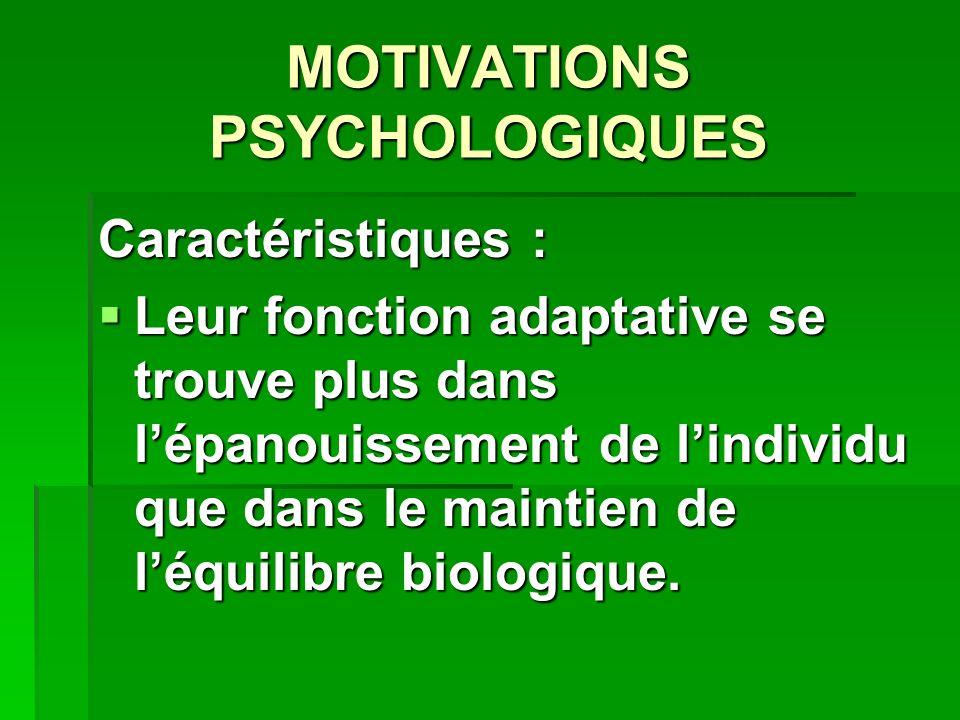 MOTIVATIONS PSYCHOLOGIQUES Caractéristiques : Leur fonction adaptative se trouve plus dans lépanouissement de lindividu que dans le maintien de léquilibre biologique.