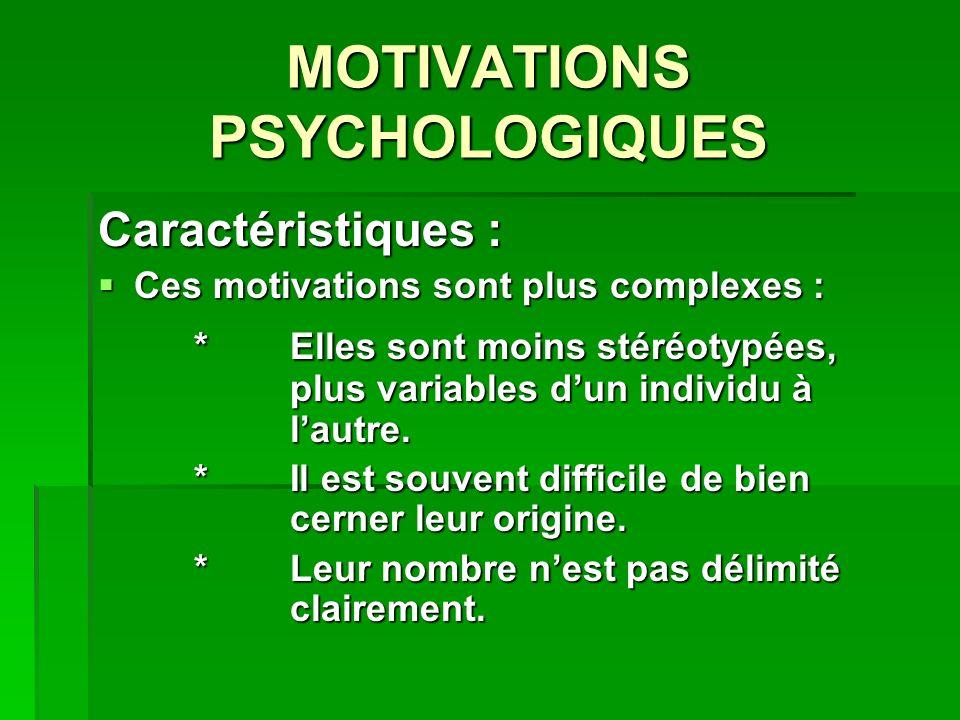 MOTIVATIONS PSYCHOLOGIQUES Caractéristiques : Ces motivations sont plus complexes : Ces motivations sont plus complexes : *Elles sont moins stéréotypées, plus variables dun individu à lautre.