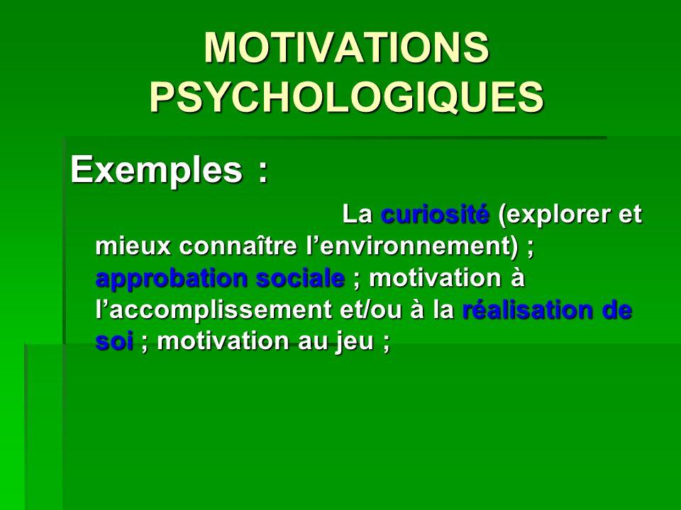 MOTIVATIONS PSYCHOLOGIQUES Exemples : La curiosité (explorer et mieux connaître lenvironnement) ; approbation sociale ; motivation à laccomplissement et/ou à la réalisation de soi ; motivation au jeu ;