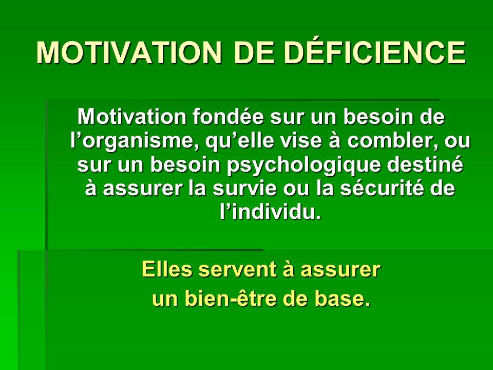 MOTIVATION DE DÉFICIENCE Motivation fondée sur un besoin de lorganisme, quelle vise à combler, ou sur un besoin psychologique destiné à assurer la survie ou la sécurité de lindividu.