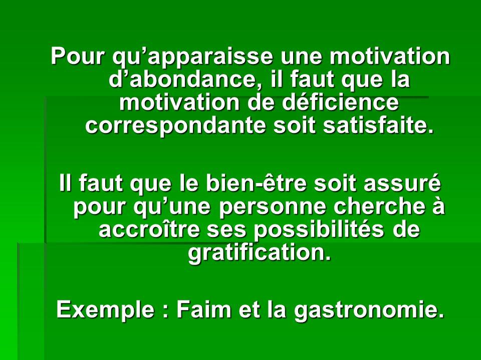 Pour quapparaisse une motivation dabondance, il faut que la motivation de déficience correspondante soit satisfaite.