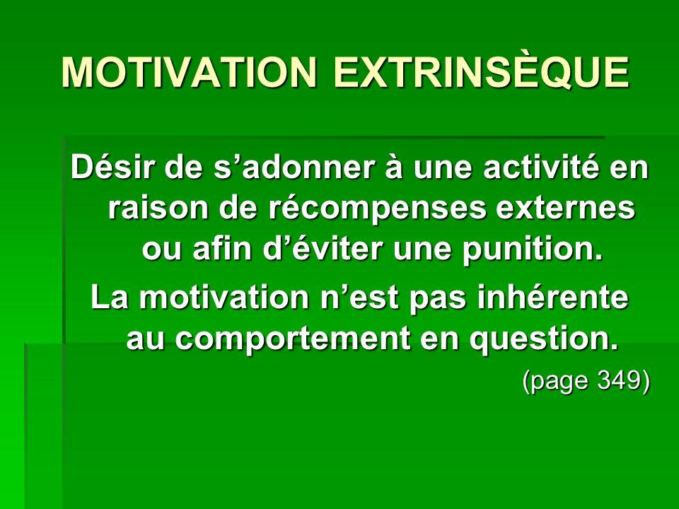 MOTIVATION EXTRINSÈQUE Désir de sadonner à une activité en raison de récompenses externes ou afin déviter une punition. La motivation nest pas inhéren