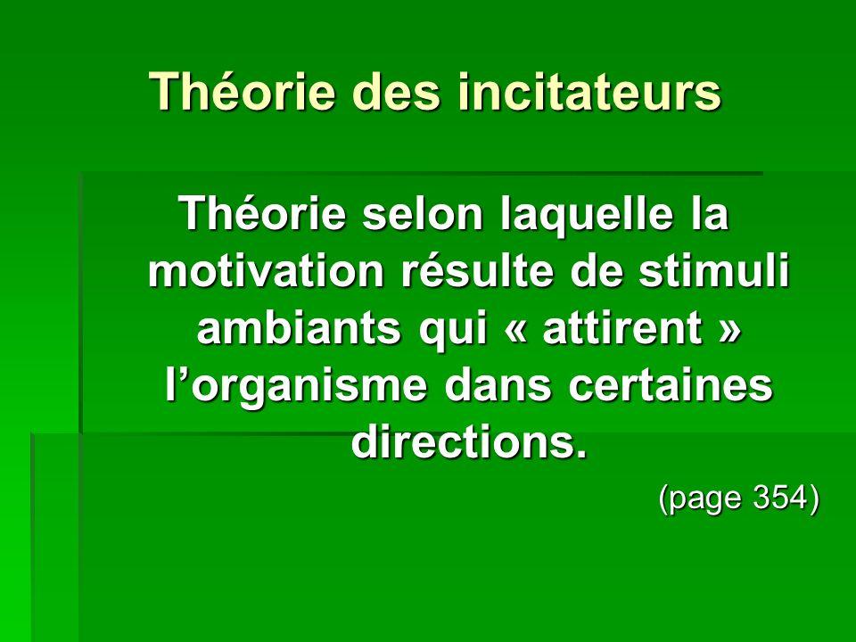 Théorie des incitateurs Théorie selon laquelle la motivation résulte de stimuli ambiants qui « attirent » lorganisme dans certaines directions. (page