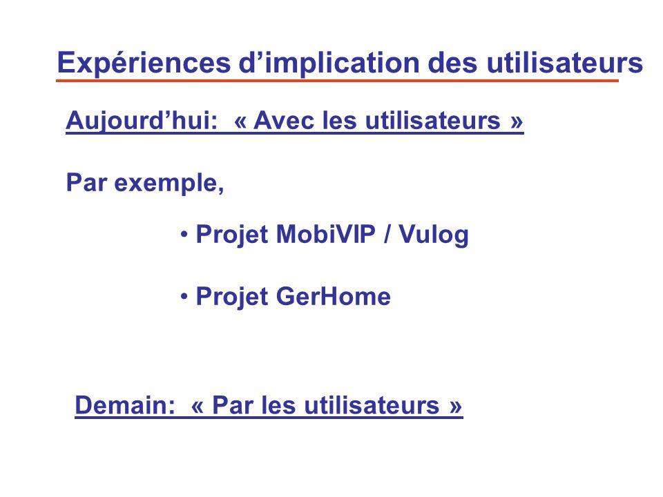 13 Expériences dimplication des utilisateurs Projet MobiVIP / Vulog Projet GerHome Aujourdhui: « Avec les utilisateurs » Par exemple, Demain: « Par le