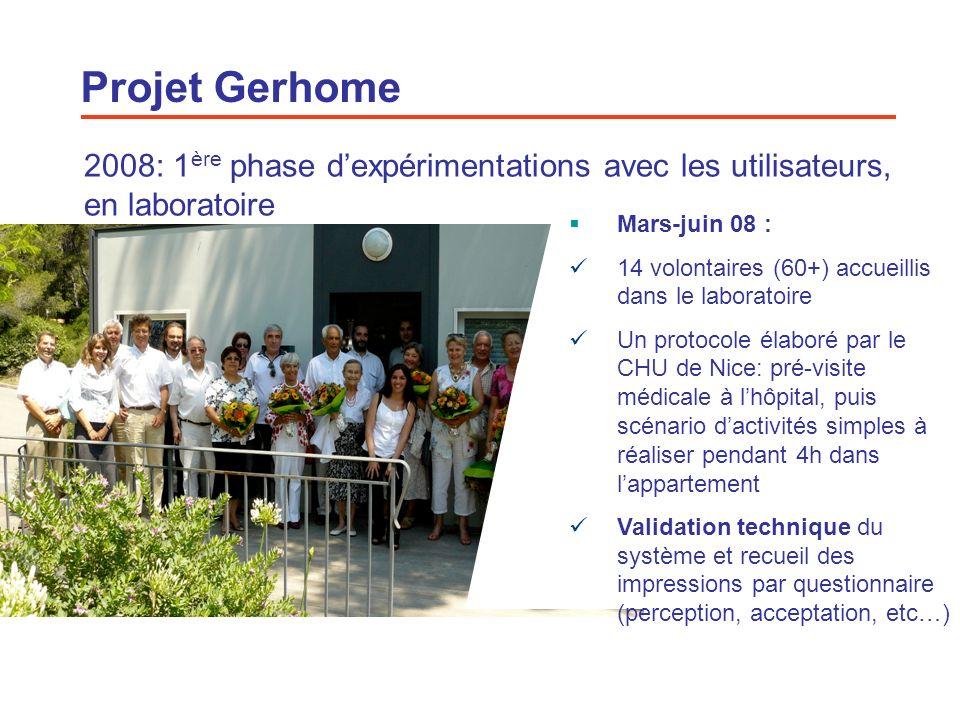 17 2008: 1 ère phase dexpérimentations avec les utilisateurs, en laboratoire Mars-juin 08 : 14 volontaires (60+) accueillis dans le laboratoire Un pro