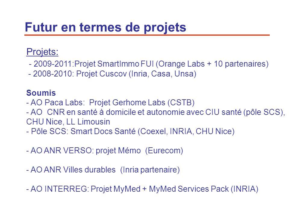 19 Futur en termes de projets Projets: - 2009-2011:Projet SmartImmo FUI (Orange Labs + 10 partenaires) - 2008-2010: Projet Cuscov (Inria, Casa, Unsa)