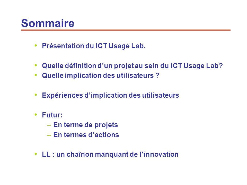 3 Présentation du ICT Usage Lab (1/3) Laboratoire des usages (LDU1) 200220062008 GIS ICT Usage Lab labelisé Enoll (FT) ICT Usage Lab Historique 2008 -INRIA (UNSA,Telecom Paris Tech) FP 7 call research infrastructures: INFRALLABS ( 14 LLs) - Participation active au réseau ENOLL, - Approfondissement de la notion de LL Ré-émergence du LL ICT Usage Lab 2006 FT: label ENoLL 2007 Orange Labs & CSTB: Organisation de la conférence ICE à Sophia Antipolis Membres fondateurs: CNRS, GET, INRIA UNSA + membres associés