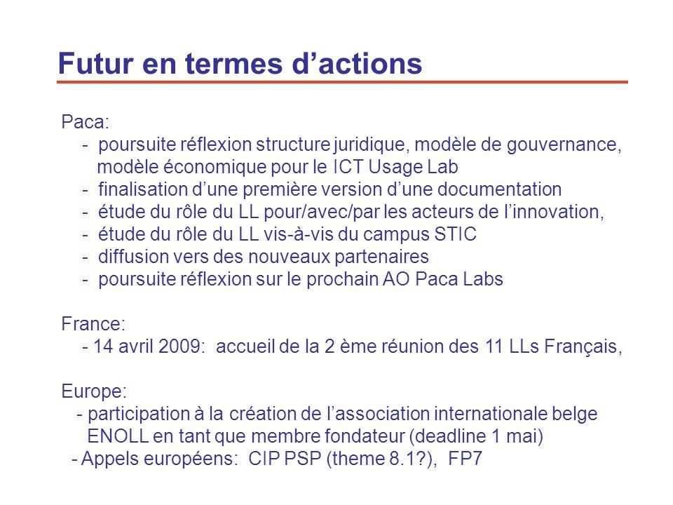 21 Futur en termes dactions Paca: - poursuite réflexion structure juridique, modèle de gouvernance, modèle économique pour le ICT Usage Lab - finalisa