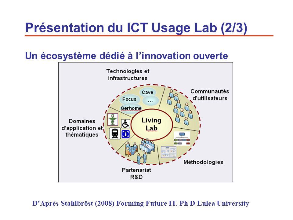 4 Un écosystème dédié à linnovation ouverte Présentation du ICT Usage Lab (2/3) DAprès Stahlbröst (2008) Forming Future IT. Ph D Lulea University