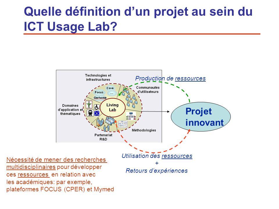 6 Quelle définition dun projet au sein du ICT Usage Lab? Projet innovant Utilisation des ressources + Retours dexpériences Production de ressources Né