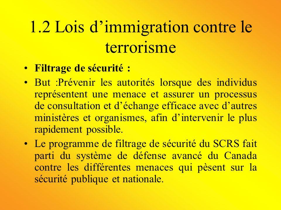 1.2 Lois dimmigration contre le terrorisme Filtrage de sécurité : But :Prévenir les autorités lorsque des individus représentent une menace et assurer