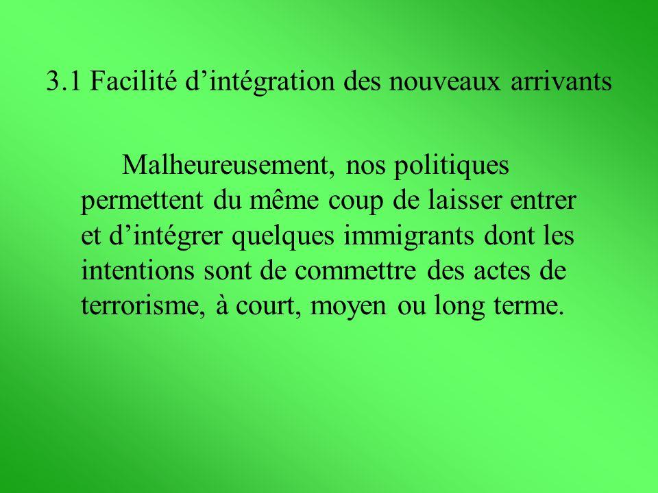 Malheureusement, nos politiques permettent du même coup de laisser entrer et dintégrer quelques immigrants dont les intentions sont de commettre des a