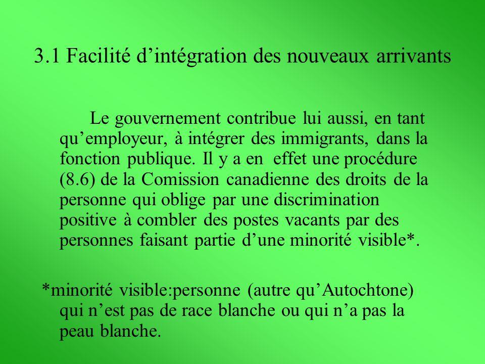 Le gouvernement contribue lui aussi, en tant quemployeur, à intégrer des immigrants, dans la fonction publique. Il y a en effet une procédure (8.6) de