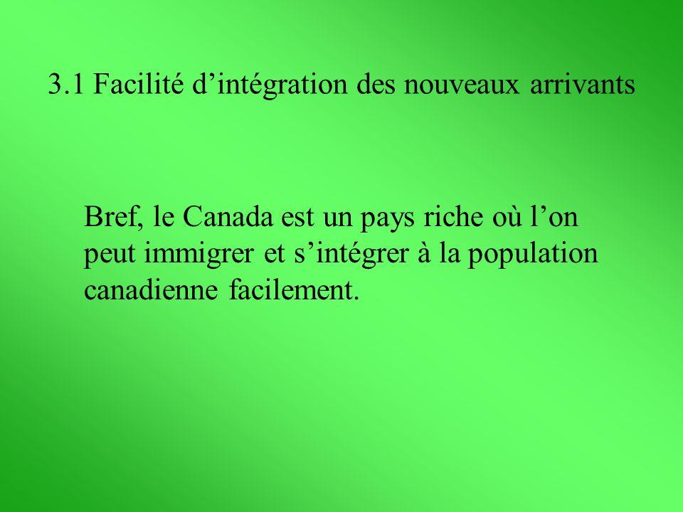 Bref, le Canada est un pays riche où lon peut immigrer et sintégrer à la population canadienne facilement. 3.1 Facilité dintégration des nouveaux arri