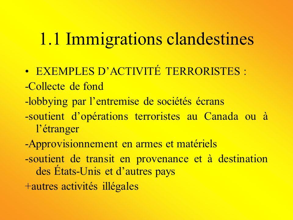 1.1 Immigrations clandestines CAS DIMMIGRATION CLANDESTINE : «En 1991, des membres de la secte religieuse pakistanaise Jamaat Ul Fuqra ont été arrêtes alors quils tentaient dentrer au Canada depuis les États-Unis.