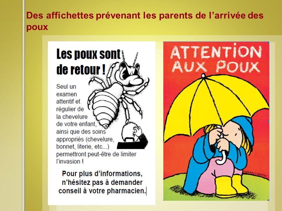 Des affichettes prévenant les parents de larrivée des poux