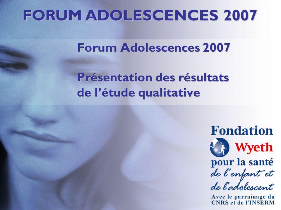 FORUM ADOLESCENCES 2007 Forum Adolescences 2007 Présentation des résultats de létude qualitative
