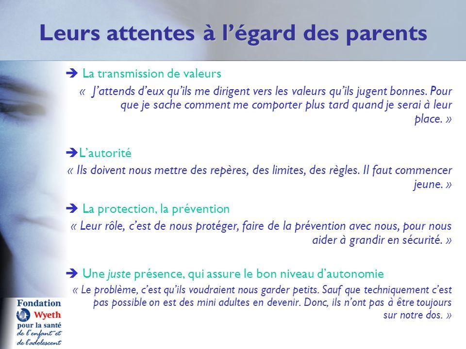 Leurs attentes à légard des parents La transmission de valeurs « Jattends deux quils me dirigent vers les valeurs quils jugent bonnes. Pour que je sac