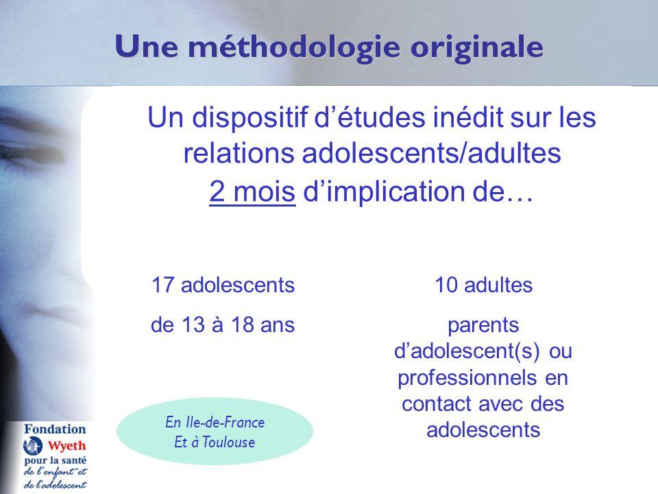 Un dispositif détudes inédit sur les relations adolescents/adultes 2 mois dimplication de… Une méthodologie originale 17 adolescents de 13 à 18 ans 10