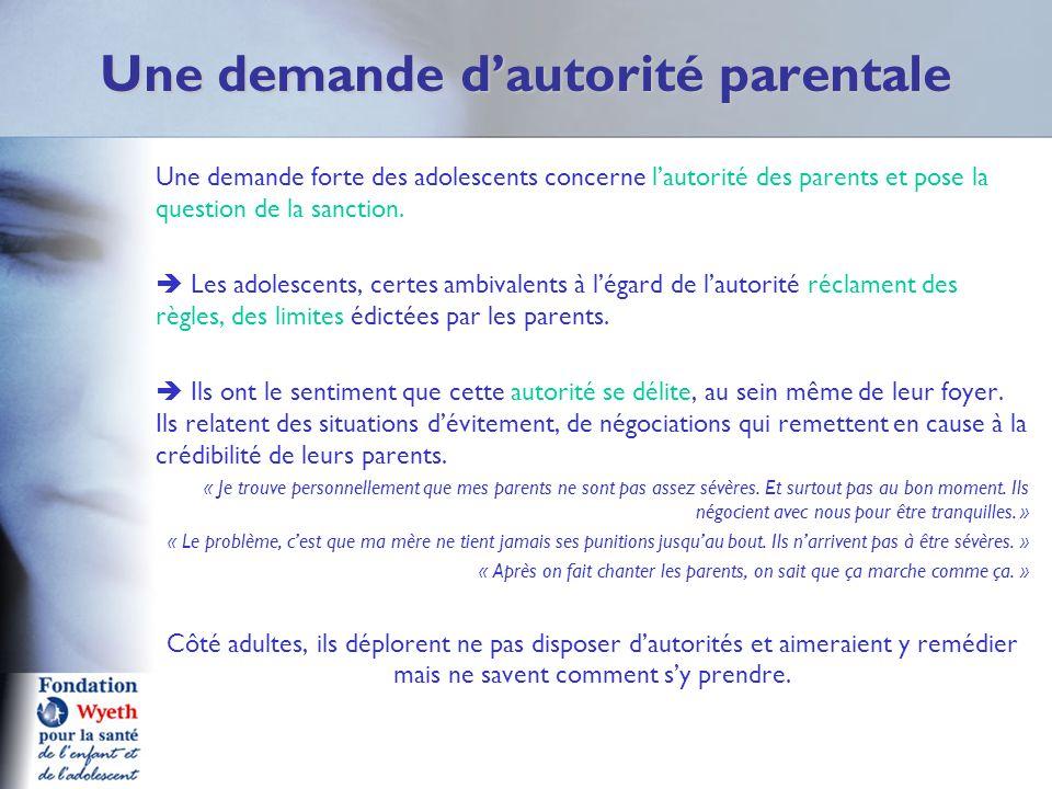 Une demande dautorité parentale Une demande forte des adolescents concerne lautorité des parents et pose la question de la sanction. Les adolescents,