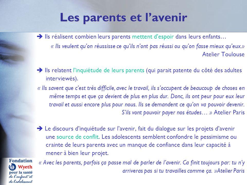 Les parents et lavenir Ils réalisent combien leurs parents mettent despoir dans leurs enfants… « Ils veulent quon réussisse ce quils nont pas réussi o