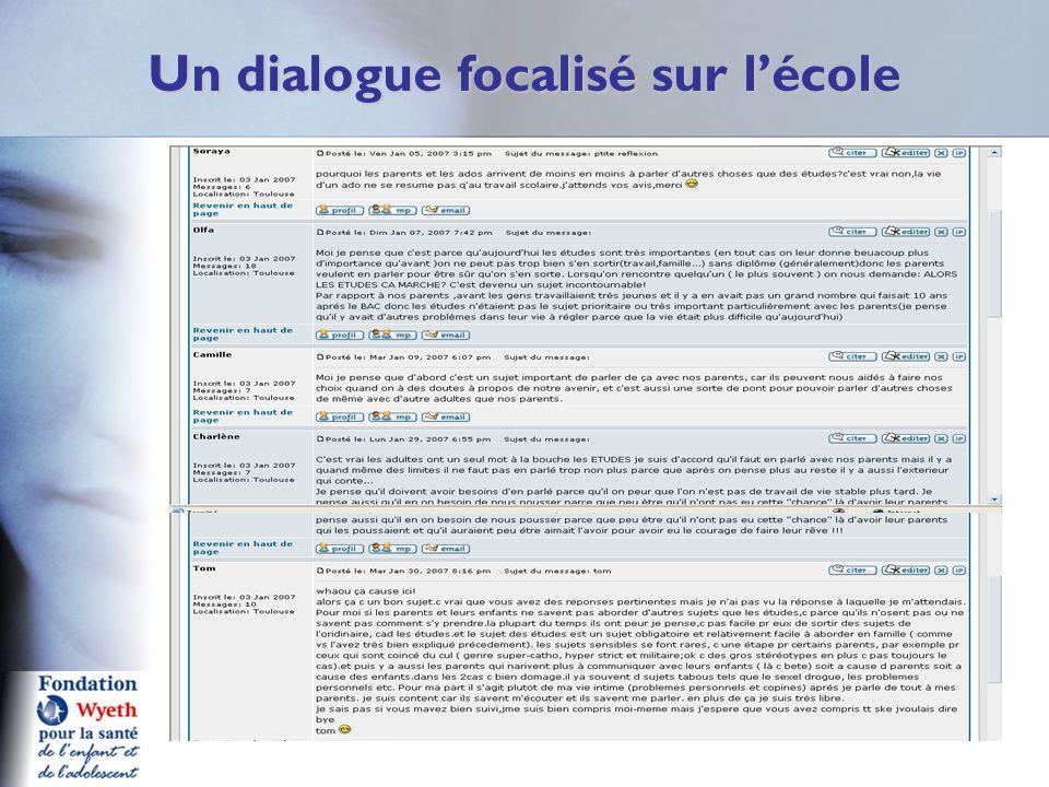 Un dialogue focalisé sur lécole