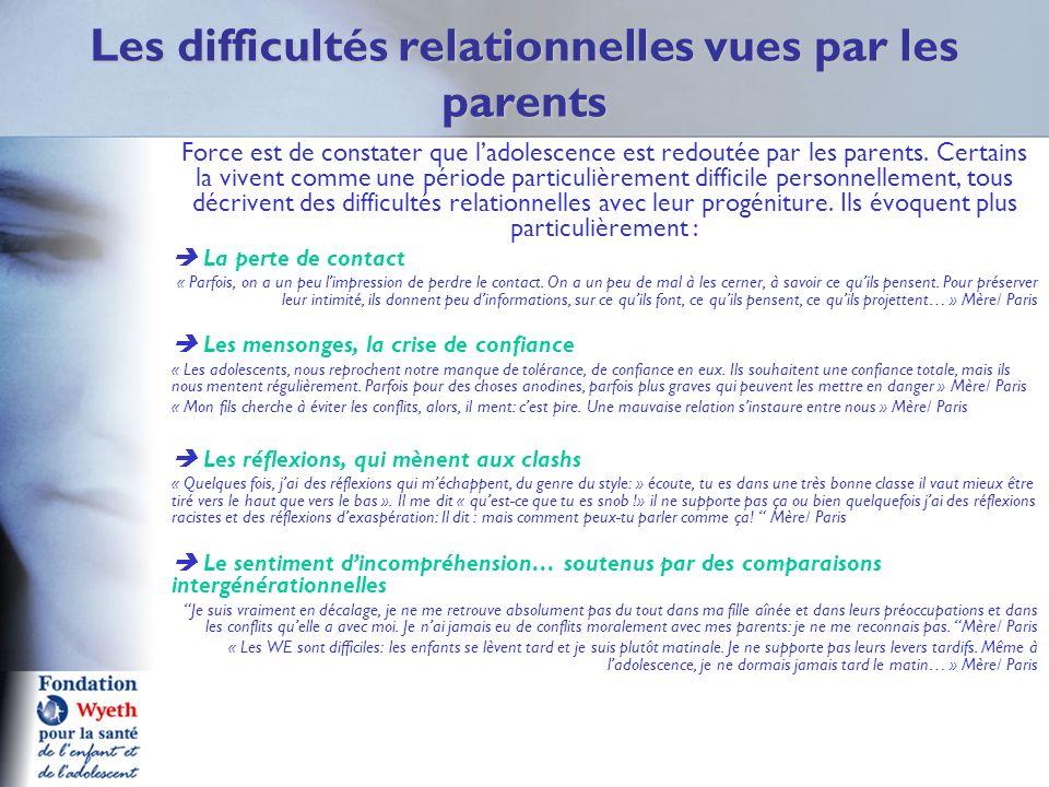 Les difficultés relationnelles vues par les parents Force est de constater que ladolescence est redoutée par les parents. Certains la vivent comme une