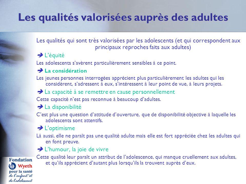 Les qualités valorisées auprès des adultes Les qualités qui sont très valorisées par les adolescents (et qui correspondent aux principaux reproches fa
