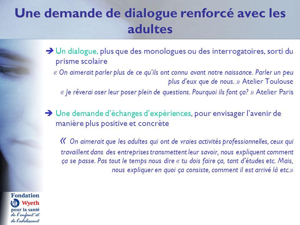 Une demande de dialogue renforcé avec les adultes Un dialogue, plus que des monologues ou des interrogatoires, sorti du prisme scolaire « On aimerait